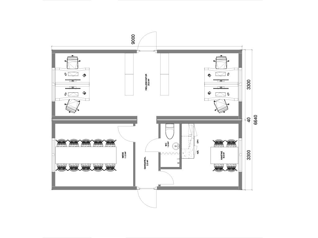 Kontoropstilling med 2 sammenbyggede kontormoduler