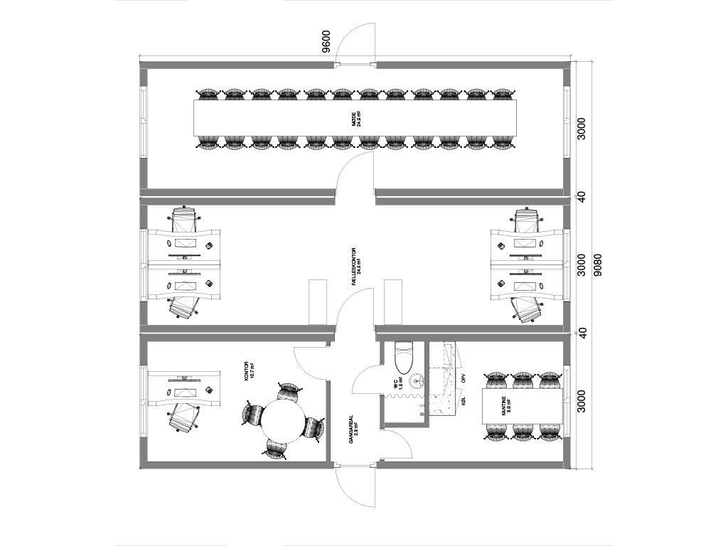 Kontoropstilling med 3 sammenbyggede kontormoduler
